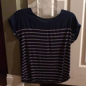 Navy blue stripped short sleeved blouse